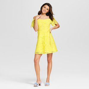 NEW! Bright Yellow Off Shoulder Lace Dress